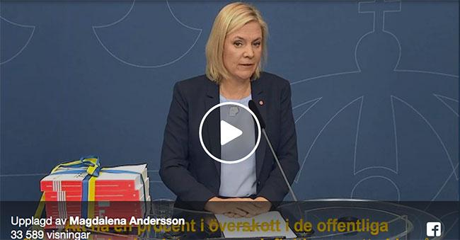 Skärmdump på en Vidoe med Magdalena Andersson