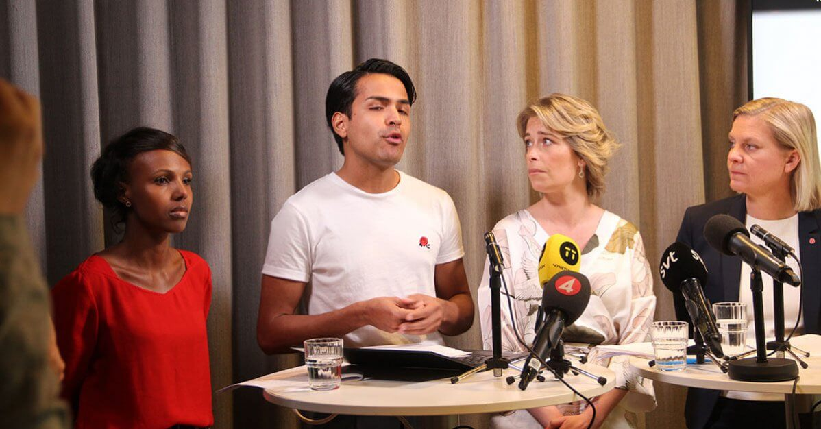 Philip Botström och Annika Strandhäll - presskonferens om psykisk ohälsa bland unga.