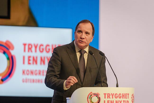 Statsminister Stefan Löfven i talarstolen på Socialdemokarternas kongress 2017. Foto: Foto: Anders Löwdin